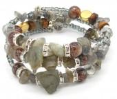 B102-004  Wrap Bracelet with Real Stones Grey