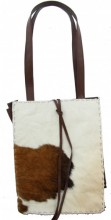 S-C2.4 Leather Cowhide Shopper Brown with Brown-White Cowhide 29x37x15cm