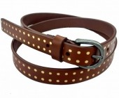 S-B4.5 HM-080 Leather Belt with Gold Dots 2x105cm