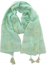 X-D5.2 S004-011 Scarf with Golden Butterflies and Tassels 180x70cm