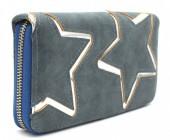 Q-N6.2 WA117-007 PU Wallet with Silver Stars 19x10cm Grey