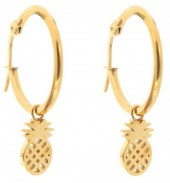 A-A6.4 E015-012SD Stainless Steel Earrings 25mm Pineapple Gold