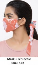 F-B14.1 Face Mask with Scrunchie Set - Washable - Teen Size - Flower - Orange