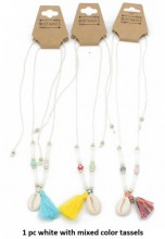 N019-004 Necklace with Shell and Mixed Colors Tassels 1pc White