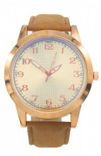 WA204-001 Quartz Watch with PU Strap Rose Gold-Light Brown