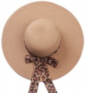 Q-K3.1 HAt504-005A Hat with Animal Print Ribbon Brown