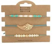 B019-053 Bracelet Set 3pcs Angel Wing Green
