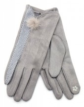 R-K2.2 GLOVE403-092B Gloves with Pompon Grey