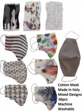 Cotton Mask - Made in Italy - 10 Designs Mixed - Machine Washable - 50pcs