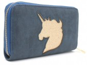 Q-K2.1 WA117-009 PU Wallet with Glitter Unicorn 19x10cm Blue