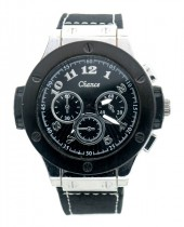A-C9.1 W523-001A Quartz Watch with PU Strap 45mm Black