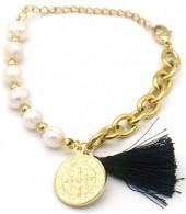 A-B23.2 B014-003G S. Steel Bracelet Freshwater Pearls Gold