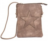 Q-C8.1 BAG012-003 PU Bag with Star 20x15cm Brown