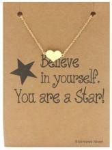 E-C7.8 B015-009 Stainless Steel Bracelet Heart Gold