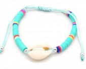 A-D7.2  B221-009 Beaded Bracelet with Shell Blue