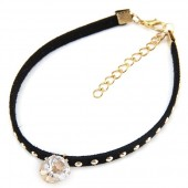 A-C17.5 Anklet Black with Studs and Crystal
