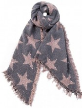 Z-D1.3 Scarf with Stars - Pearls and Studs 65x180cm Pink-Grey