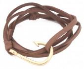 B019-058 PU Wrap Bracelet with Hook Brown-Gold