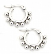 C-D5.4  E1264-004SS Stainless Steel Earrings with Dots 10mm Silver
