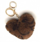 F-E22.1  KY414-001H Fluffy Keychain Heart Leopard Dark Brown