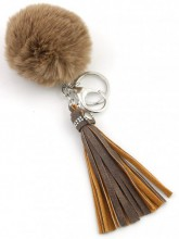 A-C6.8  Key-Bag Chain with Fake Fur Tassels and Crystals Brown