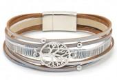 B-B4.8  B104-003 Leather Bracelet with Tree of Life Grey-Silver