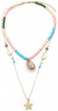 E-F21.1 N537-003 Layered Necklace Surfbeads - Shells Multi Color