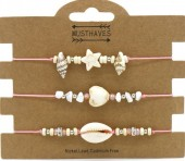 F-E17.1 B2001-048C Bracelet Set 3pcs Stones and Shells Pink