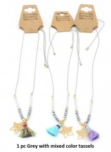 N019-005 Adjustable Necklace with Golden Star and Mixed Colors Tassels 1pc Grey