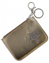 S-B1.3 WA1202-004 Keychain Wallet with Star and Crystals 12x8.5cm Shiny Gold