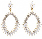 B-D19.3 E022-006 Crystal Earrings White 5x3cm