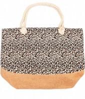 Y-A6.4 BAG213-001 Beach Bag with Animal Print 50x36cm Brown-White