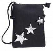 T-A2.2 BAG012-001 PU Bag with Glitter Stars 20x15cm Black
