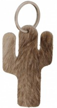A-E17.5 Brown Leather Cowhide Keychain Cactus Mixed Colors 9cm