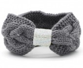 R-N7.2 H114-003 Knitted Headband with Crystals Grey