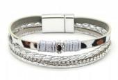 B-F23.1  B1633-010I PU Bracelet Leopard with Crystals Grey