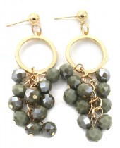 E-D16.3 E518-001A Earrings with Faceted Glass Beads 7x2cm Green-Gold