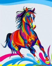 Q-K6.1 S141 Diamond Painting Set Colorfull Horse 50x40cm