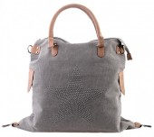 Q-D8.1  BAG118-002 Large Canvas Bag with Glitter Star 47x44cm Grey