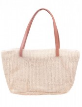 Y-D2.4  BAG217-020 Woven Straw Shopper Brown