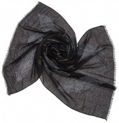 X-H10.1  S004-007 Scarf with Large Feathers 180x70cm Black
