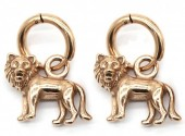 A-E18.1  E007-002RG S. Steel 10mm Earring with 16mm Lion Rose Gold