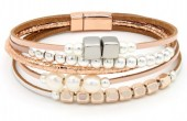B104-002 Leather with Metal and Glass Pearls Bracelet Rose Gold
