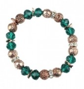 A-E2.7 B254-083 Elastic Bracelet with Metal Roses and Crystals