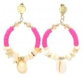 F-C16.2 E536-112A Earrings Shells 6.5x4cm Pink