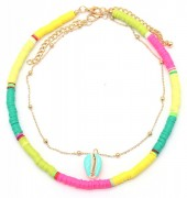 E-F19.1  N536-096B Necklace Set 2pcs with Shell Multi Color
