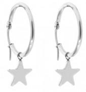 B-E7.8 E015-012SA Stainless Steel Earrings 25MM Star Silver