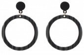 E127-008 Statement Earrings Dark Grey