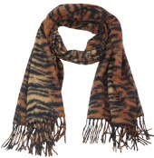 Z-A3.4 SCARF405-024D Sof Scarft With Animal Print 180x70cm Brown