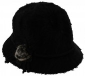 S-E6.3 Woolen Hat with Flower and Fake Fur Pompon Black